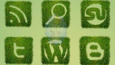 Photo of 12 أيقونة لمختلف مواقع الشبكات الاجتماعية مصممة بنمط عشبي