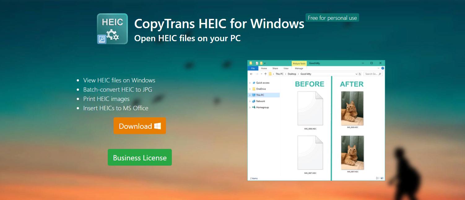 تحويل باستخدام البرنامج CopyTrans HEIC