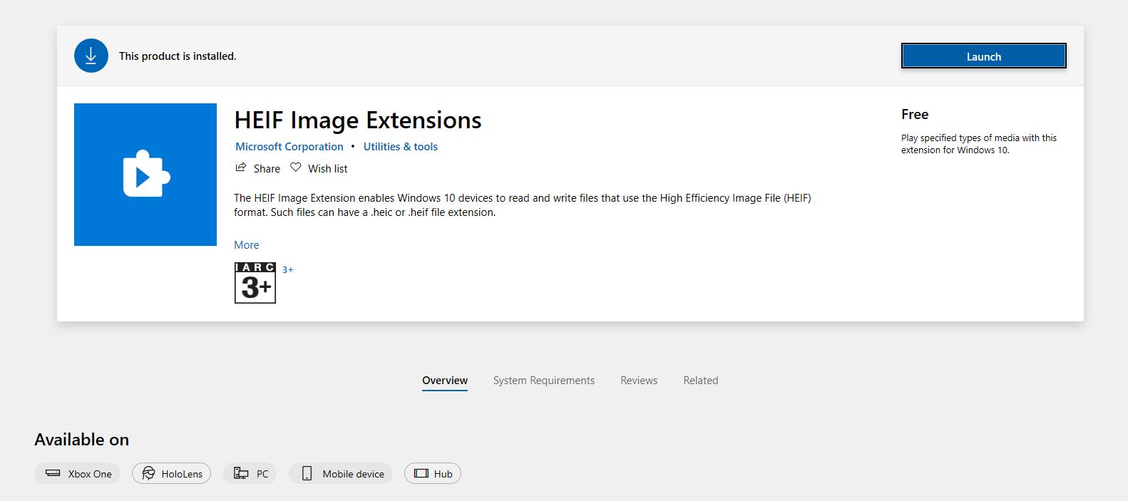 نظام التشغيل Windows 10 و برنامج HEIF Image Extensions